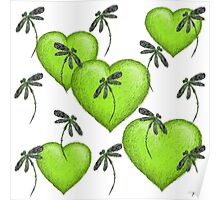 Hearts & Dragonflies Luscious Lime Poster