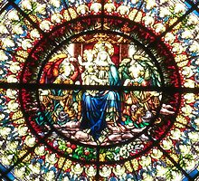 """Close-up of Rose Window, """"Enthroned Madonna and Child"""" by Nanagahma"""