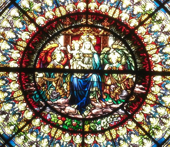 "Close-up of Rose Window, ""Enthroned Madonna and Child"" by Nanagahma"