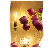 Candles and Tulips Poster