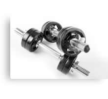 Chrome bolt on hand barbells weights Canvas Print