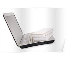 books lying on keyboard of grey laptop Poster
