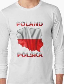 Poland Flag Country Outline Long Sleeve T-Shirt