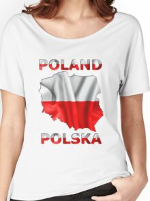 Poland Flag Country Outline Women's Relaxed Fit T-Shirt