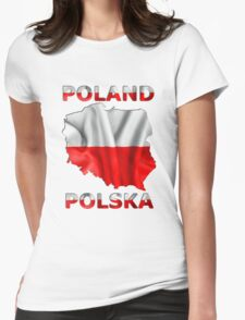 Poland Flag Country Outline Womens Fitted T-Shirt