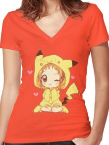 Pikachu Girl! ♥ Women's Fitted V-Neck T-Shirt