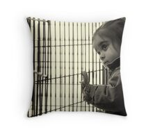 Face of a refugee child Throw Pillow