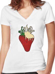Strawberries 'n' Cream  Women's Fitted V-Neck T-Shirt