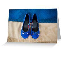 Female elegance bridal blue shoes Greeting Card