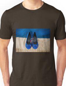 Female elegance bridal blue shoes Unisex T-Shirt