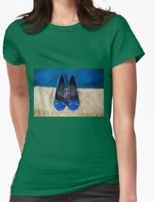 Female elegance bridal blue shoes T-Shirt