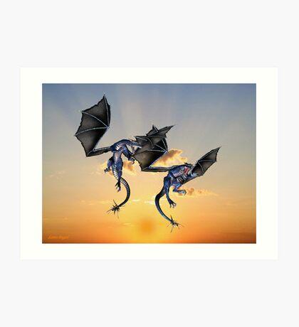 Dragons Battle for the Skies Art Print