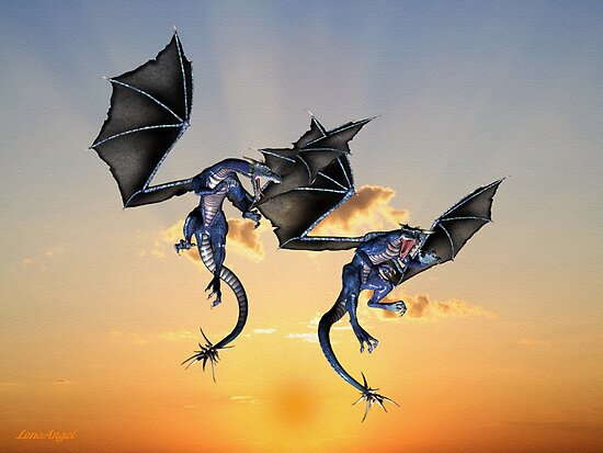 Dragons Battle for the Skies by LoneAngel