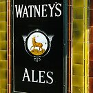 Watney's beer sign at Pub entrance, London, 1975, by David A. L. Davies