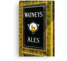 Watney's beer sign at Pub entrance, London, 1975, Canvas Print