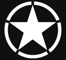 Army, Star & Circle, Jeep, WWII, America, American, Americana,  USA, White on Black by TOM HILL - Designer