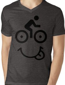 Bicycle Face Mens V-Neck T-Shirt