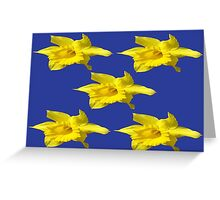 DAFFODILS ON BLUE Greeting Card