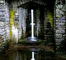 window reflections, carreg cennen castle by brian emmanuel
