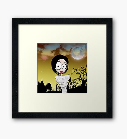 Crazy Girl in a Graveyard Framed Print