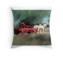 Horse and Wagon Throw Pillow