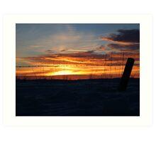fenced sunset Art Print