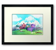 Cute monsters in the nature Framed Print