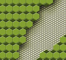 Broken Hex Weave - kelly green and sage by Mark McKinney