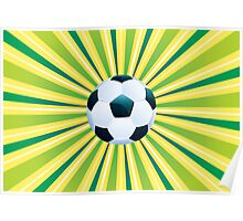 Soccer Ball on Green Background Poster