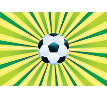 Soccer Ball on Green Background Photographic Print