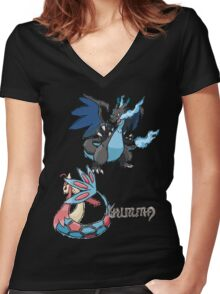 Kelly's Mega Charizard X & Milotic Women's Fitted V-Neck T-Shirt