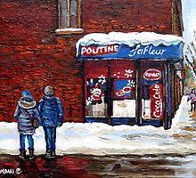 MONTREAL WINTER STREETS BEST MONTREAL PAINTINGS POUTINE LAFLEUR VERDUN CITY SCENE by Carole  Spandau