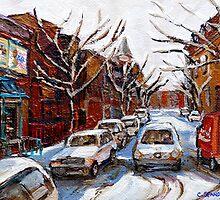 MONTREAL ART FAIRMOUNT BAGEL IN WINTER WITH COCA COLA TRUCK PLATEAU MONTREAL STREET SCENE by Carole  Spandau