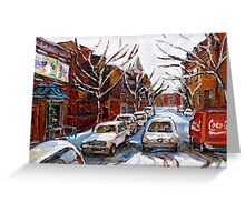MONTREAL ART FAIRMOUNT BAGEL IN WINTER WITH COCA COLA TRUCK PLATEAU MONTREAL STREET SCENE Greeting Card