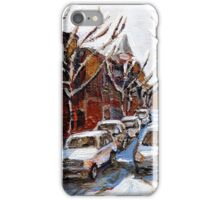 MONTREAL ART FAIRMOUNT BAGEL IN WINTER WITH COCA COLA TRUCK PLATEAU MONTREAL STREET SCENE iPhone Case/Skin