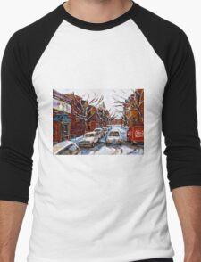 MONTREAL ART FAIRMOUNT BAGEL IN WINTER WITH COCA COLA TRUCK PLATEAU MONTREAL STREET SCENE Men's Baseball ¾ T-Shirt
