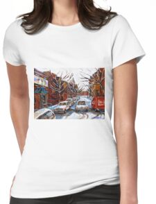 MONTREAL ART FAIRMOUNT BAGEL IN WINTER WITH COCA COLA TRUCK PLATEAU MONTREAL STREET SCENE Womens Fitted T-Shirt