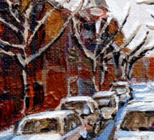 MONTREAL ART FAIRMOUNT BAGEL IN WINTER WITH COCA COLA TRUCK PLATEAU MONTREAL STREET SCENE Sticker