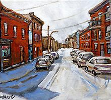 SCENES OF ST.HENRI MONTREAL DEPANNEUR MONTREAL WINTER STREET SCENES CANADIAN PAINTINGS by Carole  Spandau