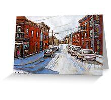 SCENES OF ST.HENRI MONTREAL DEPANNEUR MONTREAL WINTER STREET SCENES CANADIAN PAINTINGS Greeting Card