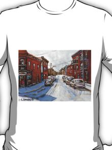 SCENES OF ST.HENRI MONTREAL DEPANNEUR MONTREAL WINTER STREET SCENES CANADIAN PAINTINGS T-Shirt