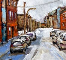 SCENES OF ST.HENRI MONTREAL DEPANNEUR MONTREAL WINTER STREET SCENES CANADIAN PAINTINGS Sticker