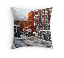 RUE CHARLEVOIX AND RUE CENTRE IN POINTE ST.CHARLES MONTREAL WINTER URBAN CITY SCENES CANADIAN ART Throw Pillow