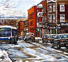RUE CHARLEVOIX AND RUE CENTRE IN POINTE ST.CHARLES MONTREAL WINTER URBAN CITY SCENES CANADIAN ART by Carole  Spandau