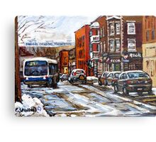 RUE CHARLEVOIX AND RUE CENTRE IN POINTE ST.CHARLES MONTREAL WINTER URBAN CITY SCENES CANADIAN ART Metal Print