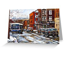RUE CHARLEVOIX AND RUE CENTRE IN POINTE ST.CHARLES MONTREAL WINTER URBAN CITY SCENES CANADIAN ART Greeting Card