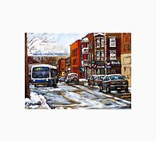RUE CHARLEVOIX AND RUE CENTRE IN POINTE ST.CHARLES MONTREAL WINTER URBAN CITY SCENES CANADIAN ART Unisex T-Shirt