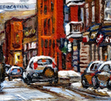 RUE CHARLEVOIX AND RUE CENTRE IN POINTE ST.CHARLES MONTREAL WINTER URBAN CITY SCENES CANADIAN ART Sticker