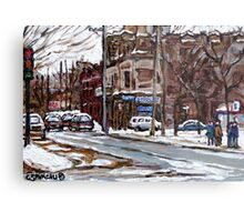 MONTREAL PAINTINGS POITE ST.CHARLES RUE CHARLEVOIOX WINTER STREETS MONTREAL ART Metal Print