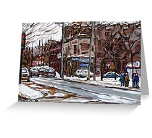 MONTREAL PAINTINGS POITE ST.CHARLES RUE CHARLEVOIOX WINTER STREETS MONTREAL ART Greeting Card